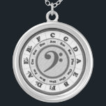 """Music Circle of Fifths - Bass Clef version Silver Plated Necklace<br><div class=""""desc"""">Gray-scale,  mostly black and white. Bass (or F) Clef in the center.</div>"""