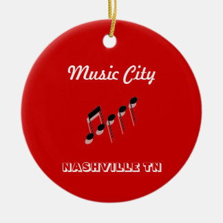 Music City Notes Double-Sided Ceramic Round Christmas Ornament