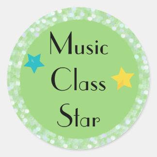 Music Class Star with Stars Classic Round Sticker