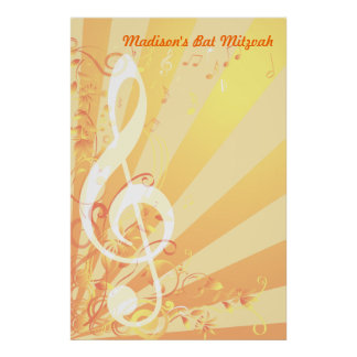 Music Clef Bat Mitzvah Sign-In Poster