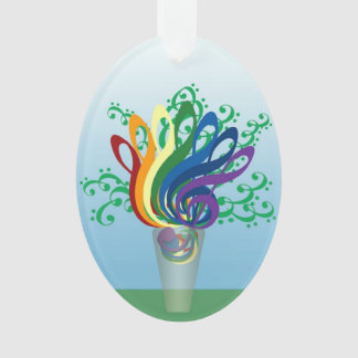 Music Clef Bouquet in Translucent Vase Ornament