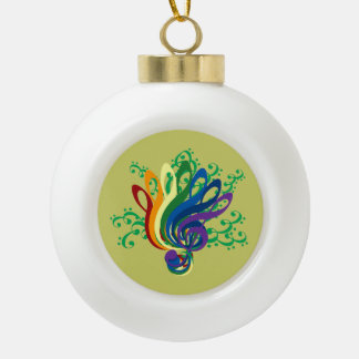 Music Clef Bouquet Ceramic Ball Christmas Ornament
