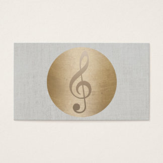 Music Clef Gold Circle Classy Linen Musical Business Card