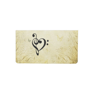 Music Clef Heart Checkbook Cover