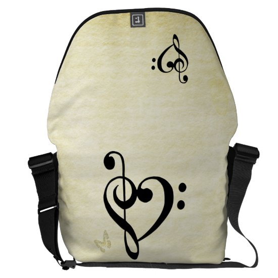 Music Clef Heart Courier Bag