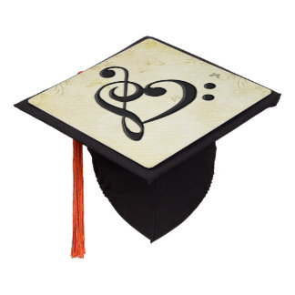 Music Clef Heart Graduation Cap Topper
