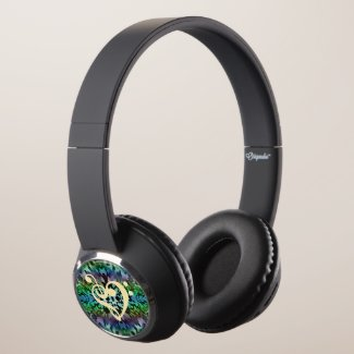 Music Clef Heart  Green Tie-Dye Headphones