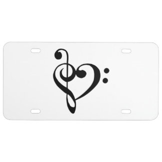 Music Clef Heart License Plate