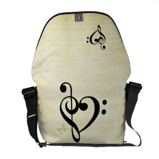 Music Clef Heart Messenger Bag