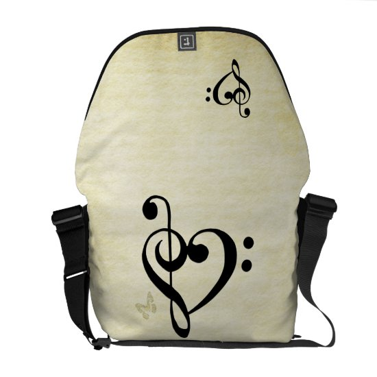 Music Clef Heart Messenger Bag