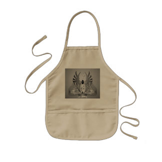 Music, clef in black and white kids' apron
