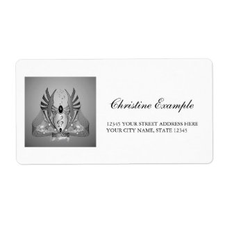 Music, clef in black and white on a shield shipping label