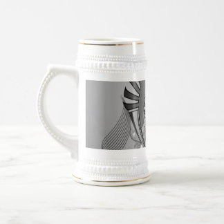 Music, clef in black and white on a shield 18 oz beer stein