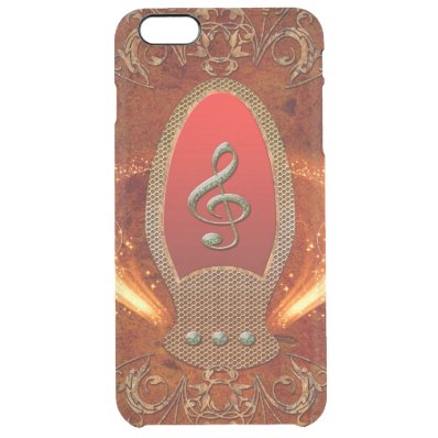 Music, clef made of diamond clear iPhone 6 plus case