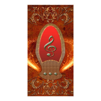 Music, clef made of diamond with floral elements card