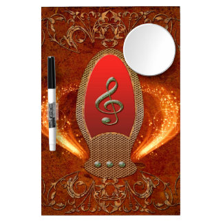 Music, clef made of diamond with floral elements dry erase board with mirror