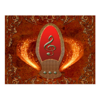 Music, clef made of diamond with floral elements postcard