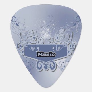 Music, clef wiht keynotes and liight effects guitar pick