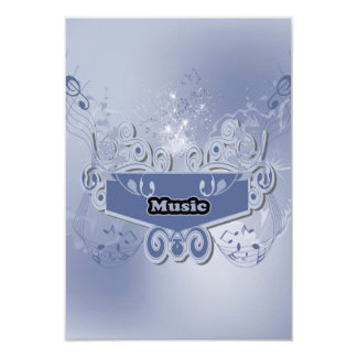 Music, clef wiht keynotes and liight effects 3.5x5 paper invitation card