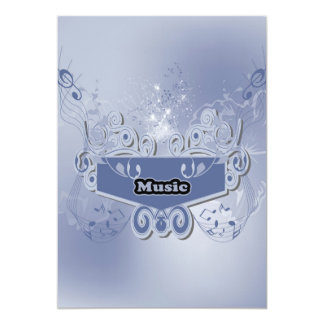 Music, clef wiht keynotes and liight effects 5x7 paper invitation card