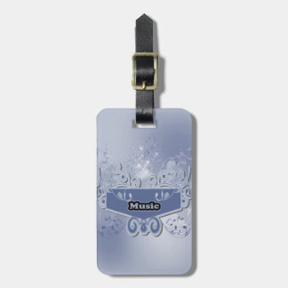 Music, clef wiht keynotes and liight effects bag tag