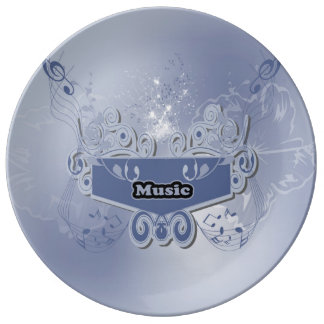 Music, clef wiht keynotes and liight effects porcelain plates