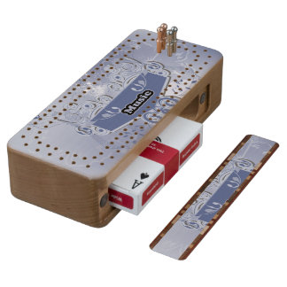 Music, clef wiht keynotes and liight effects cherry cribbage board