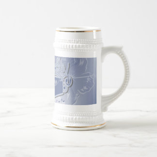 Music, clef wiht keynotes and liight effects 18 oz beer stein