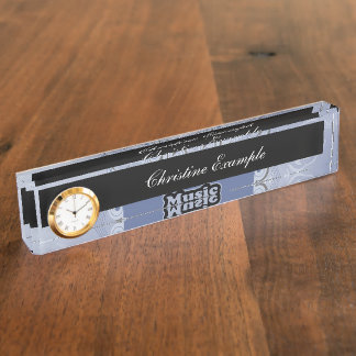 Music, clef wiht keynotes and liight effects name plate