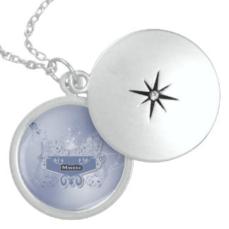Music, clef wiht keynotes and liight effects round locket necklace