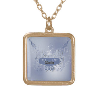 Music, clef wiht keynotes and liight effects square pendant necklace