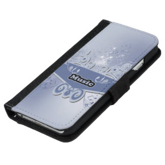 Music, clef wiht keynotes and liight effects iPhone 6 wallet case