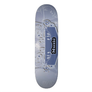 Music, clef wiht keynotes and liight effects skate deck