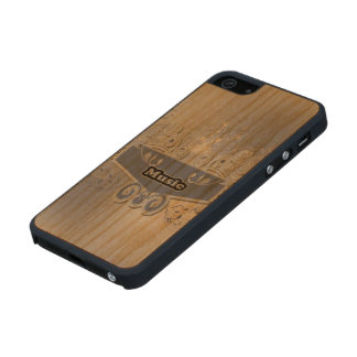 Music, clef wiht keynotes and liight effects carved® cherry iPhone 5 slim case