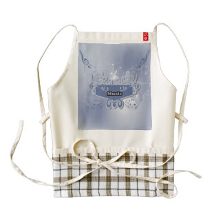 Music, clef wiht keynotes and liight effects zazzle HEART apron