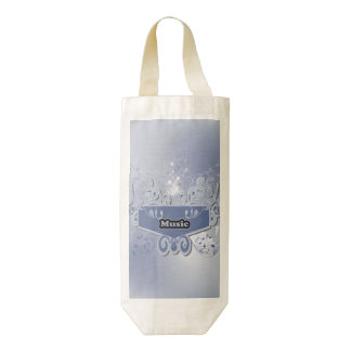 Music, clef wiht keynotes and liight effects zazzle HEART wine bag