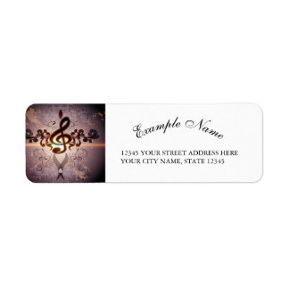 Music, Clef with elegant floral design Return Address Label