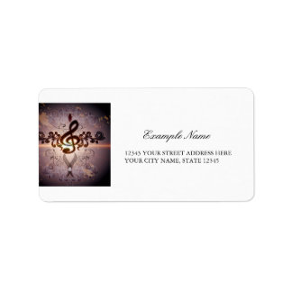 Music, Clef with elegant floral design Address Label