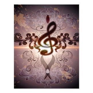Music, Clef with elegant floral design Letterhead