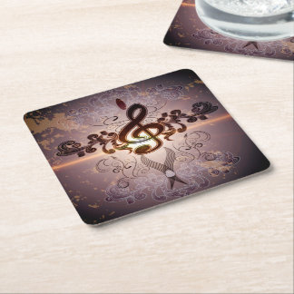 Music, Clef with elegant floral design Square Paper Coaster