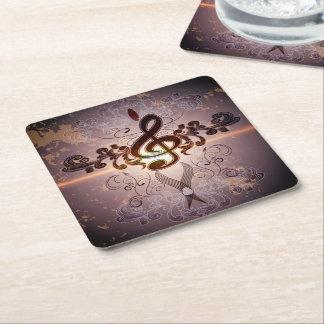 Music, Clef with elegant floral design Square Paper Coaster