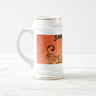 Music, clef with floral elements 18 oz beer stein