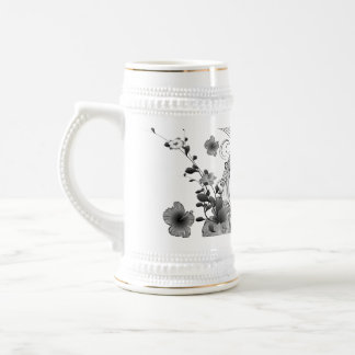 Music, clef with flowers 18 oz beer stein