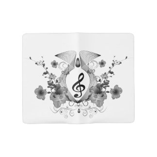 Music, clef with flowers large moleskine notebook cover with notebook