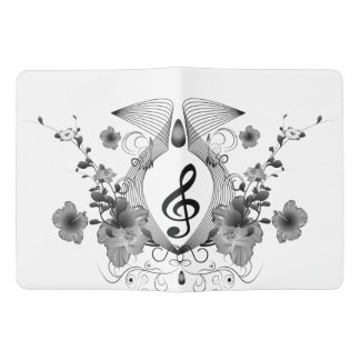 Music, clef with flowers extra large moleskine notebook cover with notebook