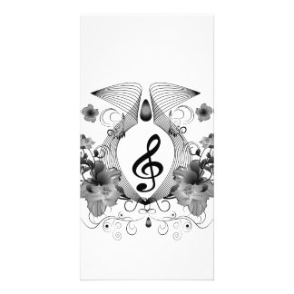 Music, clef with flowers photo card
