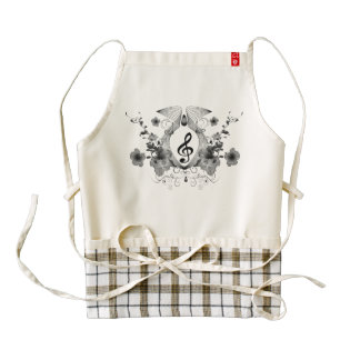 Music, clef with flowers zazzle HEART apron