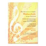"Music Clefs Bat Mitzvah Invitation 5"" X 7"" Invitation Card"