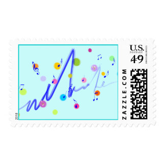 Music (colorful dots 3) postage