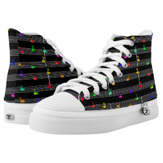Music Colorful Fun Notes Printed Shoes